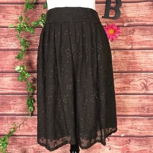 Talbots Skirt 8 Brown Silk Floral Dots Embroidery